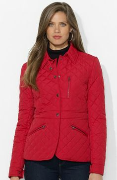 Lauren Ralph Lauren Seamed Waist Quilted Jacket (Online Only) available at #Nordstrom
