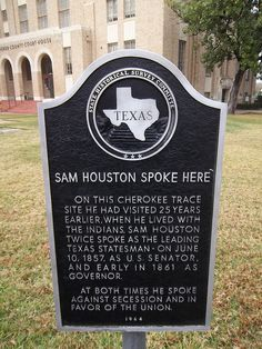 Sam Houston Spoke Here, Gilmer, Texas Historical Marker (oh, lord, he took pics of just about every Texas historical marker on our roadtrips)....memories...
