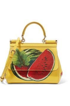 Dolce & Gabbana - Sicily Mini Printed Textured-leather Shoulder Bag - Yellow - one size