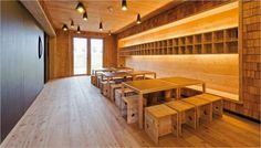 Josef-Felder-Strasse Kindergarten designed by Hiendl Schineis Architekten in Germany. Built-in and scaled furniture.