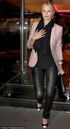 Black Leather Pants Charlize Theron with Blush Blazer b35082a1f33