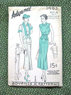 Vintage 1930s Dress Pattern by Advance 1483 Sewing 30s Dress 30s Jacket Sundress Sleeveless Cuffed Sleeves   Bust 40 inches Hip 43