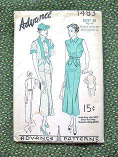 Vintage 1930s dress pattern by Advance 1483.  Bust 40 by Fancywork, $40.00
