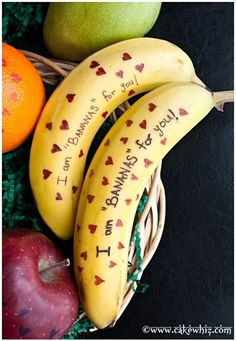 Such cute  ideas. Use edible pens to write messages on fruit for a fun surprise