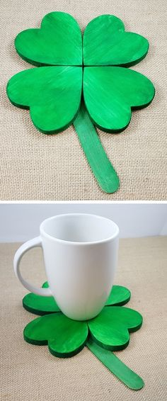 Use wooden hearts to create a shamrock coaster or decoration for St. Patrick's Day!