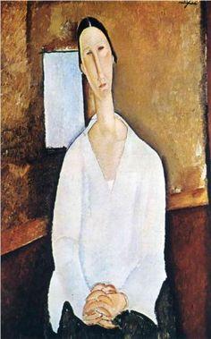 Madame Zborowska with clasped hands - Amedeo Modigliani, 1917