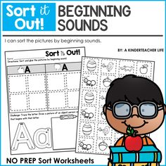 Free NO PREP Beginning Sounds Sort Worksheets - sort the pictures into the correct column, practice rainbow writing the letters and draw a picture of an object that begins with the same letter
