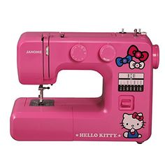 Janome 14412 Pink Hello Kitty Sewing Machine This machine comes with 12 stitches preset. It also has one, four-step buttonhole. It has snap on presser feet and a three-piece feed fog. The free arm on this model allows for accessory storage. Hello Kitty House, Pink Hello Kitty, Hello Kitty Items, Hello Kitty Kitchen, Sewing Machine Reviews, Hello Kitty Collection, Easy Stitch, Kits For Kids, Janome