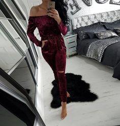 Velvet Off Shoulder Long Sleeve Elastic Waist Split Knee Long Jumpsuit