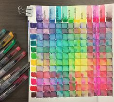 Making a swatch chart is one of the best ways to figure out how to stretch your colors even further. Once you know how colors mix together, you can create limited color palettes or add a bit of complexity to a piece with some muted tones. Swatch charts can be made with any medium. Here are a two charts made with the fabulous Mermaid Markers and mystical Magic Wands from Jane's new line from American Crafts. #janedavenport #americancrafts #mixedmedia