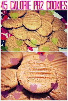 Gluten Free PB2 Cookies: 1 Cup PB2, 1/3 Cup Almond Milk, 1/2 Cup Almond Flour, 1 Tsp Vanilla Extract, 1 Tbsp Chia Seeds, 1/2 Tsp Baking Powder, 4 tsp Brown Sugar (closer to 55 kcal with reg. almond milk and real sugar).