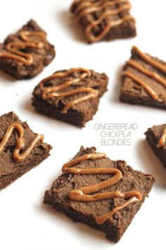 Chocolate Chip Gingerbread Chickpea Blondies with Maple Cashew Glaze