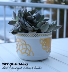 DIY Gift Idea Gold Decoupaged Succulent planter in a Mug at thehappyhousie #MSholiday