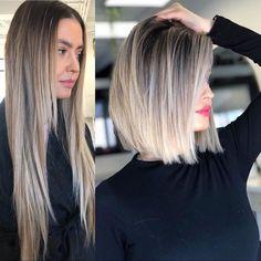 Medium Hair Cuts, Medium Hair Styles, Short Hair Styles, Medium Length Ombre Hair, Medium Short Haircuts, Short Ombre Hairstyles, Haircut For Medium Length Hair, Blunt Haircut Medium, Long Angled Bob Hairstyles