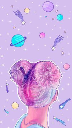Girl in universe – Galaxy Art Planets Wallpaper, Rainbow Wallpaper, Kawaii Wallpaper, Cute Wallpaper Backgrounds, Tumblr Wallpaper, Wallpaper Iphone Cute, Pretty Wallpapers, Cute Cartoon Wallpapers, Aesthetic Iphone Wallpaper