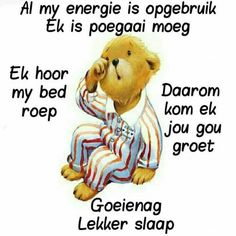 Good Night Blessings, Goeie Nag, Good Night Greetings, Special Quotes, Sleep Tight, Good Night Quotes, Cute Bears, Afrikaans, Videos Funny