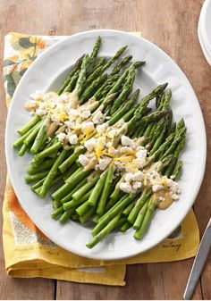 Asparagus with Lemon & Feta – A super-simple sauce of Dijon mustard and lemon juice and a sprinkling of feta dress up this fresh asparagus salad.