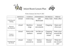 Classroom toddler lesson plan template cake templates infant lesson