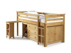 Birlea Cotswold Mid Sleeper Bed with Work Station - Antique Pine - Stylish Wooden Cabin Bed