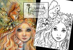 Digital Stamp, Printable, Instant download, Digi stamp, Coloring page, Art of Janna Prosvirina by Jannafairyart on Etsy Fairy Art, Digital Stamps, Coloring Pages, Printables, Unique Jewelry, Fairies, Handmade Gifts, Illustrations, Etsy