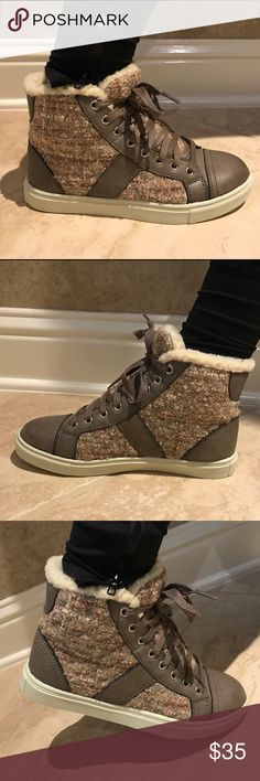 Madden Girl Everestt  Lace Up Leisure shoe Brand new in box. Mixed media , metallic stitching, faux fur lining, fabric and man made upper, man made sole Madden Girl Shoes Ankle Boots & Booties
