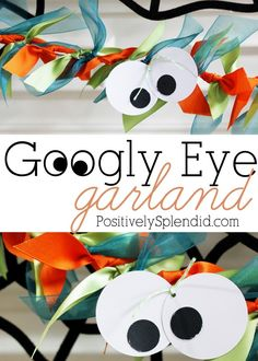 Halloween Googly Eye Ribbon Garland. So quick and easy, this is perfect to make with kids! #crafts #Halloween