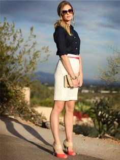 white skirt, navy blouse