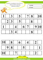 Fill in the Missing Numbers Worksheets