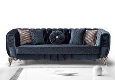 polytelis kanapes me mple skouro yfasma Decor, Furniture, Living Room, Home, Couch, Home Decor, Room