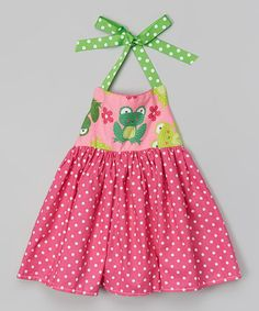 Look at this #zulilyfind! Pink Polka Dot Frog Halter Dress - Infant, Toddler & Girls by Heavenly Things for Angels on Earth #zulilyfinds