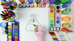 Nice Dress Drawing and Painting / Learning Colors Education for Kids /Dr...