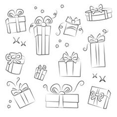 Find Gift Box Collection Easy Colorize stock images in HD and millions of other royalty-free stock photos, illustrations and vectors in the Shutterstock collection. Christmas Present Drawing, Christmas Drawing, Doodle Drawings, Doodle Art, Easy Drawings, Gift Drawing, Calligraphy Doodles, Christmas Tattoo, Arrow Tattoo Design