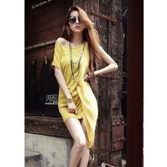 Yellow Women Fashion Single Edge Asymmetrical Chiffon Dresses One Size... ($11) via Polyvore