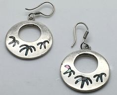 Taxco Sterling Silver Palm Tree Motif Earrings Inlay Chips Round Dangle TC 135  #Taxco