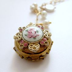 Vintage Locket Necklace Guilloche Locket by laurenblythedesigns, $150.00
