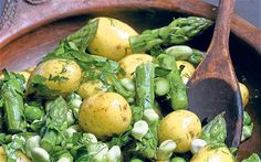 Asparagus potato salad recipe - Stevie Parle's potato salad with asparagus, broad beans, peas and fresh mayonaise.