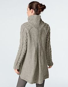 This cardigan, knit using Alaska yarn, is perfect for keeping snug this winter. It is knitted in moss stitch, stocking stitch, reverse stocking stitch and cable stitch using 5-6mm needles and two cable needles.
