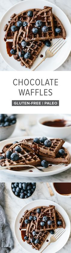 These paleo waffles get a chocolate boost, thanks to healthy, raw cacao powder. They're sweet, decadent and topped with fresh blueberries.