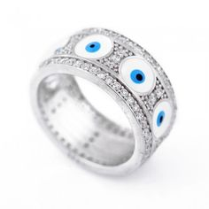Multi Eye Silver Evil Eye Ring- 925 silver evil eye ring with CZ stones and  enameled eye bea 948c8e8721d9