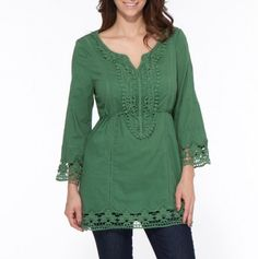 3/4 Sleeve Embroidered Tunic