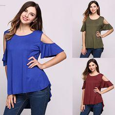 Women's Cold Shoulder T-Shirt Tops Hanky Hem Baggy Short Sleeve Blouse Fashion