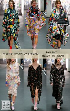 Fall 2017 Ready-to-wear Runway Print & Pattern Trends- Preen by Thronton Bregazzi Images: vogue.com bright floral prints, quilted floral jacket, black grounded florals,tea dresses, pink floral dress, bold floral dress