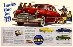 1949 Buicks: Super Four Door Sedan, Roadmaster Convertible, Roadmaster Sedanet, and Roadmaster Estate Wagon