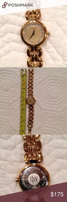 Raymond Weil Ladies Watch Authentic Raymond Weil women's watch. Used.  Some minor scratches from wear on the crystal.  Will fit a very small wrist.  Stainless steel back, water resistant.  Beautiful piece. Raymond Weil Accessories Watches