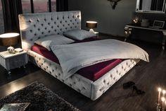 Luxusná veľká posteľ strieborná 200x160cm. Chesterfield, Paris, Bed Design, Merida, Household, Blanket, Interior, Furniture, Home Decor