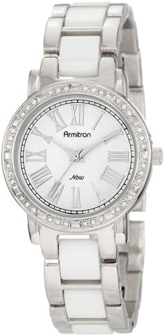 Armitron Women's 753863WTSV Now Swarovski Crystal Accented Silver-Tone and White Ceramic Link Bracelet Watch