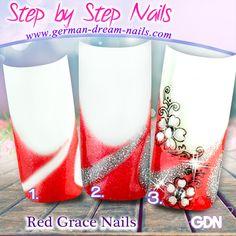 Step by Step Anleitung zum Nachmachen. Red Grace Nails www.german-dream-nails.com   #Jolifin #Nailart #Naildesign