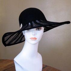 Vintage Frank Olive Black Felt Wide Brim Hat by daisyandstella, $55.00