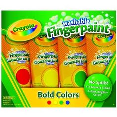 Used these finger paints with both kids as babies and toddlers.  Prefer these squeezable tubes to pots you dip your fingers in because it's much easier to control portion size (and the mess).  Washable and not very saturated color.  Very easy to clean up and off of surfaces. Crayola 4ct Washable Fingerpaints $8