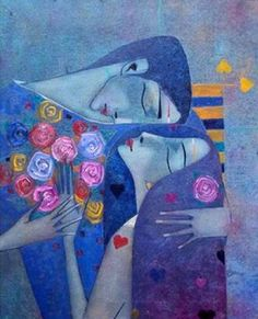 Art &painting by Peter Mitchev Posted by Laleh Hugs, Contemporary Art Artists, Krishna Painting, Couple Art, Illustrations And Posters, Whimsical Art, Figurative Art, Word Art, Painting Inspiration